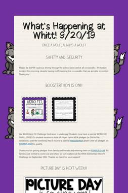 What's Happening at Whitt! 9/20/19