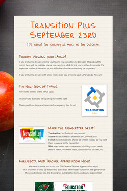 Transition Plus   September 23rd