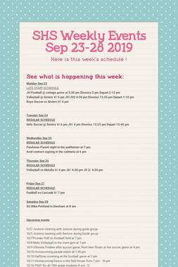 SHS Weekly Events Sep 23-28 2019