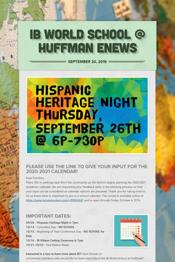 IB World School @ Huffman eNews