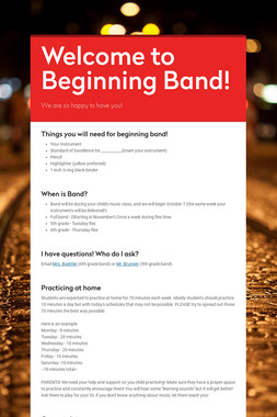 Welcome to Beginning Band!