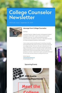 College Counselor Newsletter