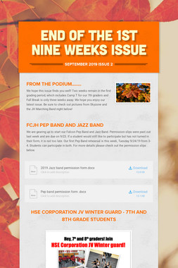 END OF THE 1st NINE WEEKS ISSUE