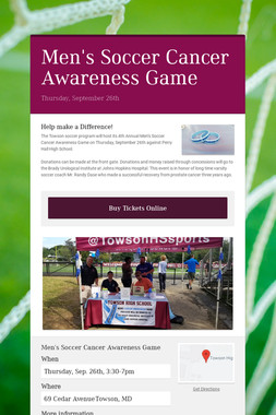 Men's Soccer Cancer Awareness Game
