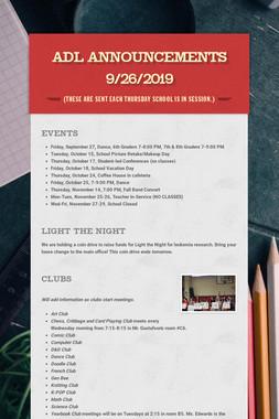 ADL Announcements 9/26/2019