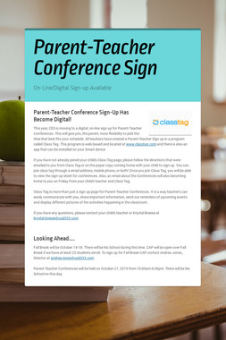 Parent-Teacher Conference Sign