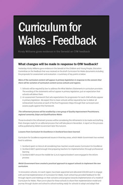 Curriculum for Wales - Feedback
