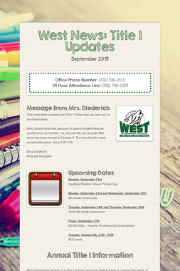 West News: Title 1 Updates