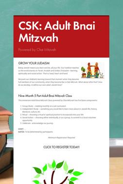 CSK: Adult Bnai Mitzvah