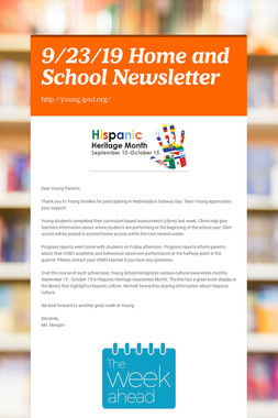 9/23/19 Home and School Newsletter