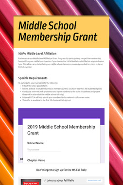 Middle School Membership Grant