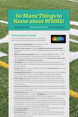 So Many Things to Know about WNHS!