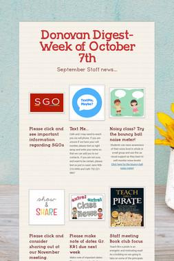Donovan Digest- Week of October 7th