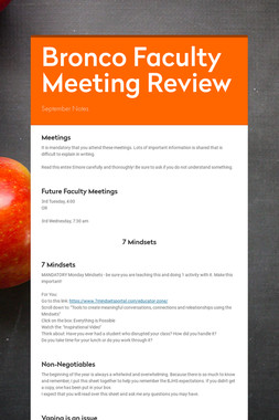 Bronco Faculty Meeting Review