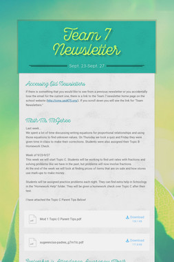 Team 7 Newsletter