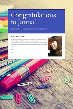 Congratulations to Janna!