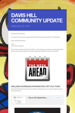 DAVIS HILL COMMUNITY UPDATE