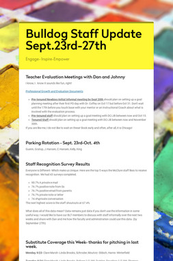Bulldog Staff Update Sept.23rd-27th
