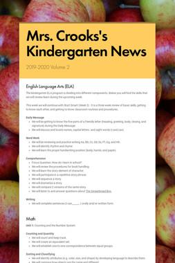 Mrs. Crooks's Kindergarten News