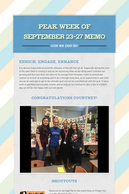 Peak Week of September 23-27 Memo