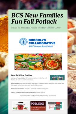 BCS New Families Fun Fall Potluck