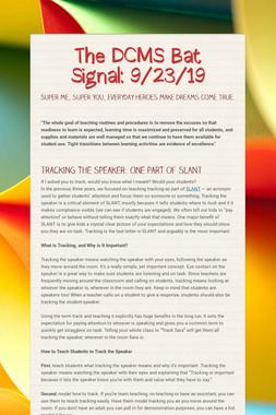 The DCMS Bat Signal: 9/23/19