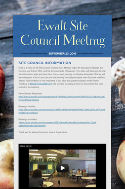 Ewalt Site Council Meeting
