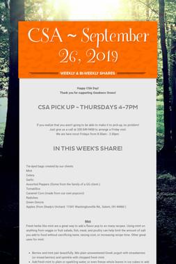 CSA ~ September 26, 2019