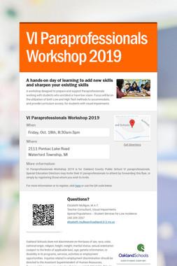VI Paraprofessionals Workshop 2019