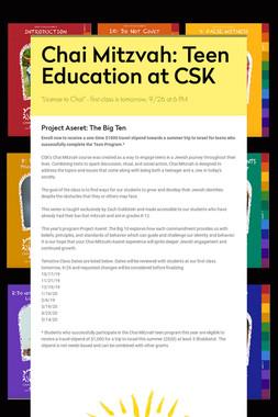 Chai Mitzvah: Teen Education at CSK