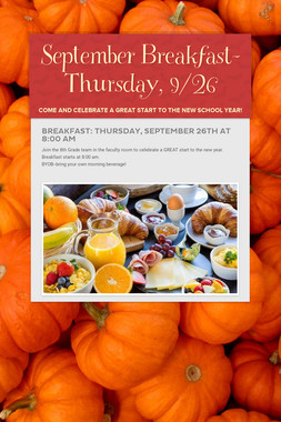 September Breakfast-Thursday,  9/26