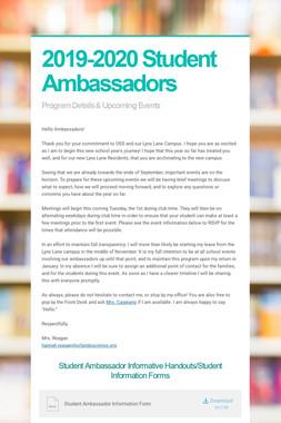2019-2020 Student Ambassadors
