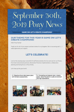 September  30th, 2019 Pony News