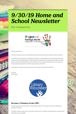 9/30/19 Home and School Newsletter