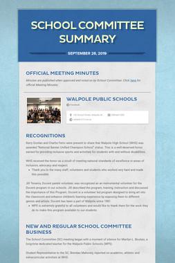 School Committee Summary