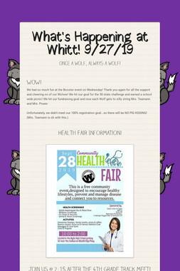What's Happening at Whitt! 9/27/19
