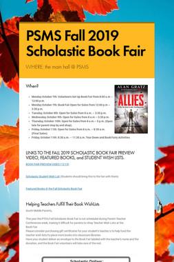 PSMS Fall 2019 Scholastic Book Fair