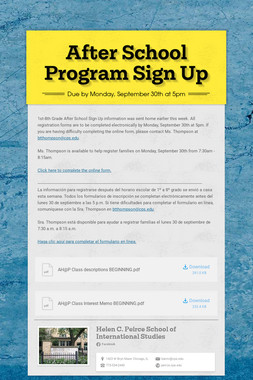 After School Program Sign Up