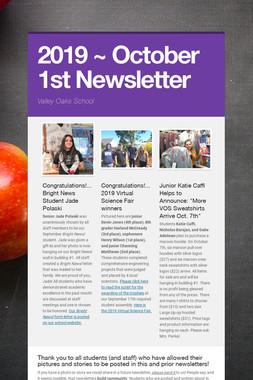 2019 ~ October 1st Newsletter