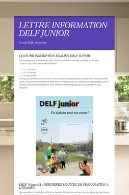 LETTRE INFORMATION DELF JUNIOR
