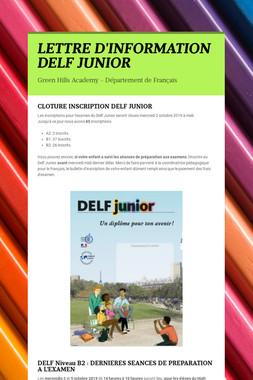 LETTRE D'INFORMATION DELF JUNIOR
