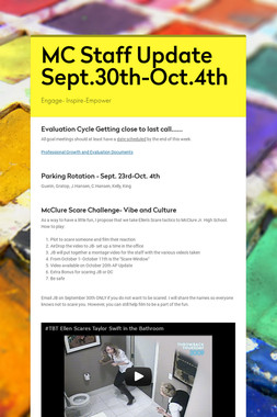 MC Staff Update Sept.30th-Oct.4th