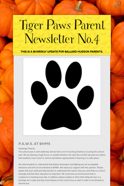 Tiger Paws Parent Newsletter No.4