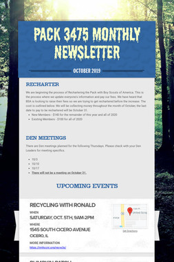 Pack 3475 Monthly Newsletter