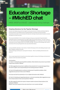 Educator Shortage - #MichED chat