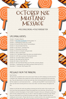 OCTOBER NSE MUSTANG MESSAGE