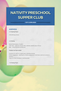 Nativity Preschool Supper Club