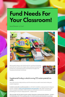 Fund Needs For Your Classroom!