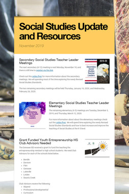 Social Studies Update and Resources
