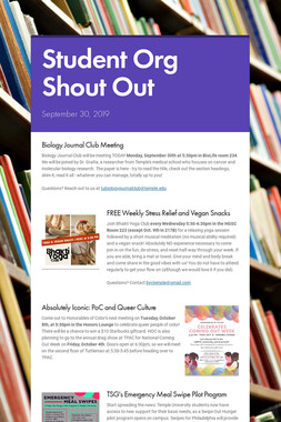 Student Org Shout Out